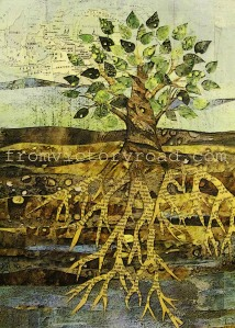 'Deep Roots' mixed media 2012 11 x 14 prints available at https://www.etsy.com/listing/115538839/deep-roots-citra-solv-art-print-11-x-14