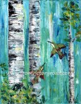 """Hummingbirds and Aspen trees""  original available at https://www.etsy.com/listing/158118990/original-acrylic-painting-hummingbirds"