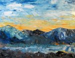 """Sunset in the Mountains""  Acrylic 11 x 14 canvas"