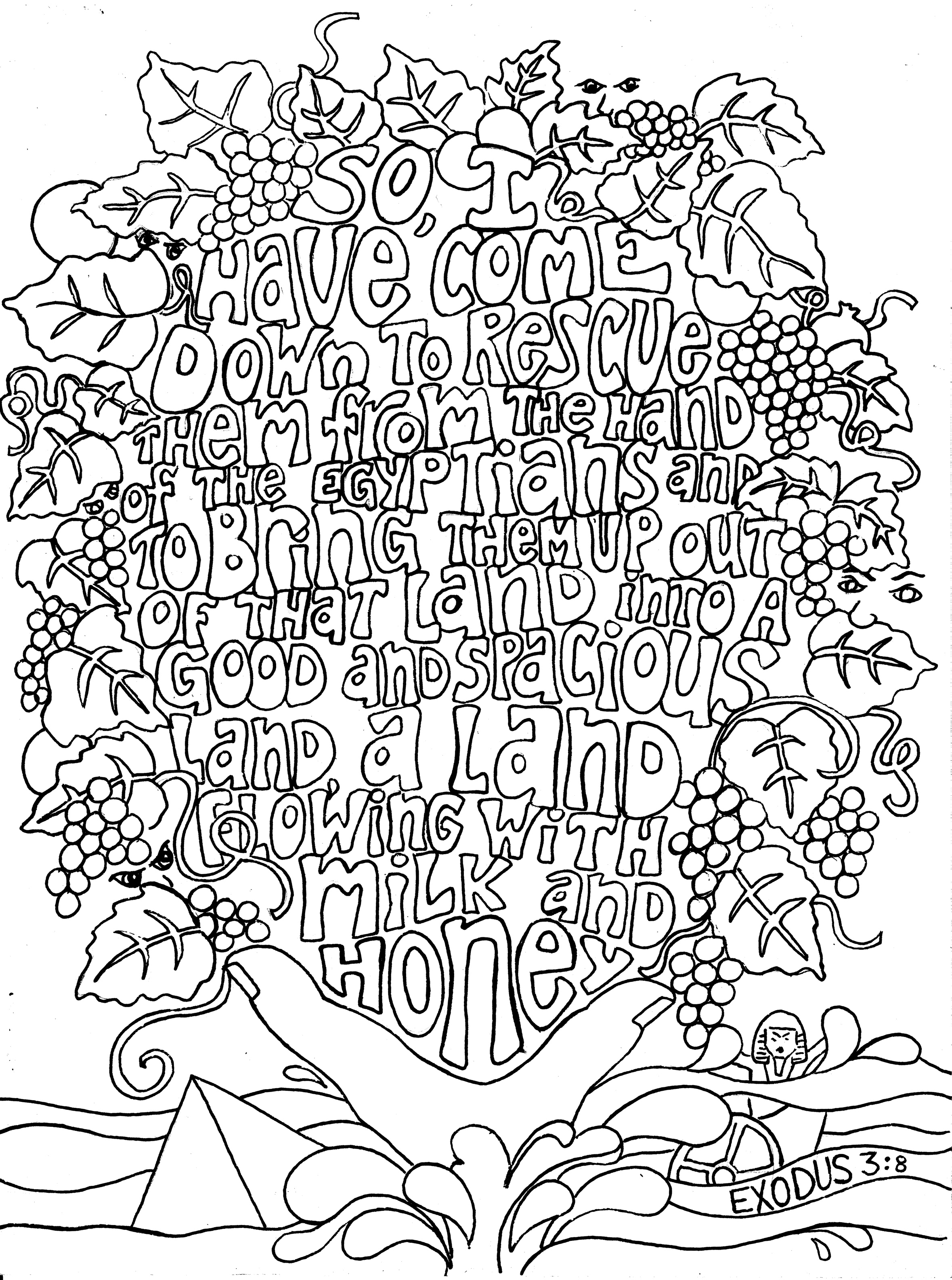 Sunday doodles exodus 3 8 from victory road Religious coloring books for adults