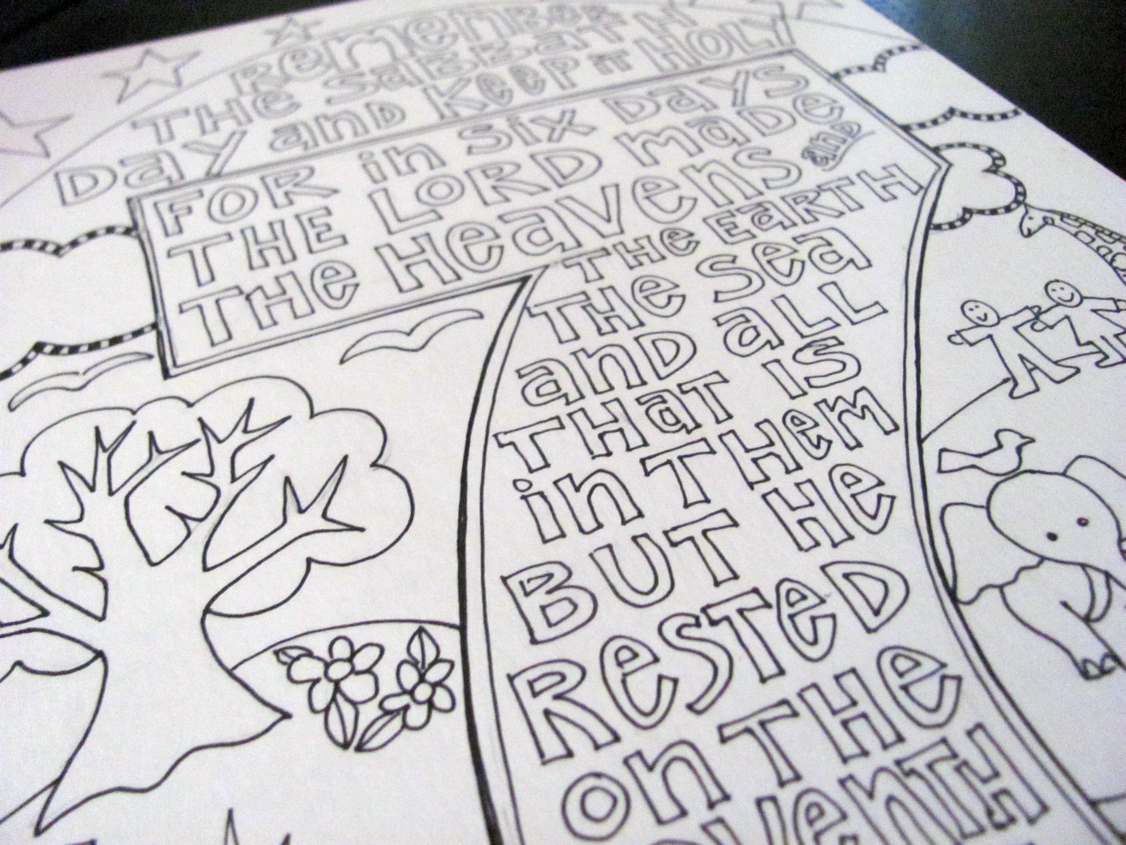 Keep the sabbath scripture doodle from victory road for Free printable ten commandments coloring pages