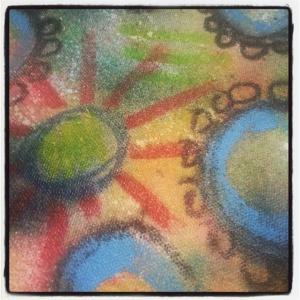 fabric painting w Derwent blocks