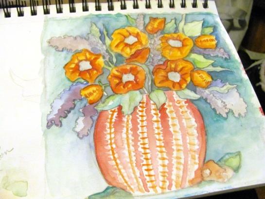 flower sketch painted
