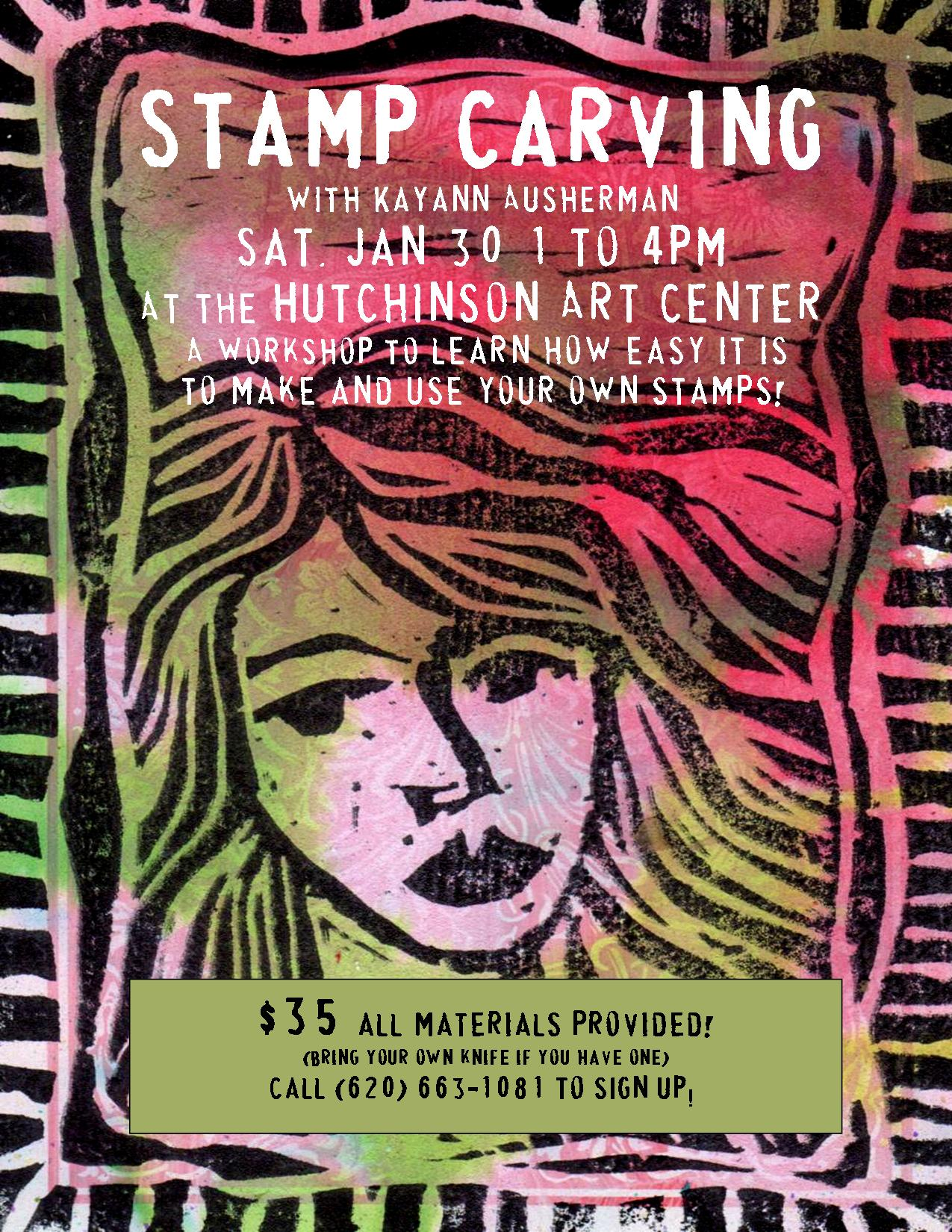 flyer stamp carving Hutch Art Center