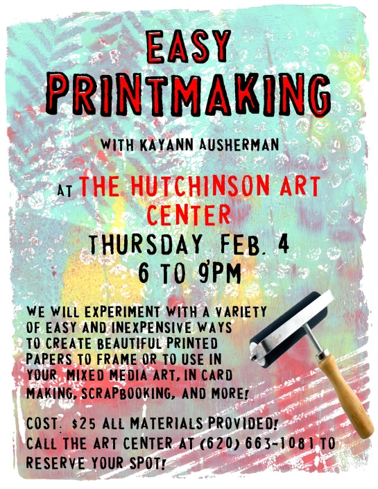 printmaking flyer for Hutch Art Center