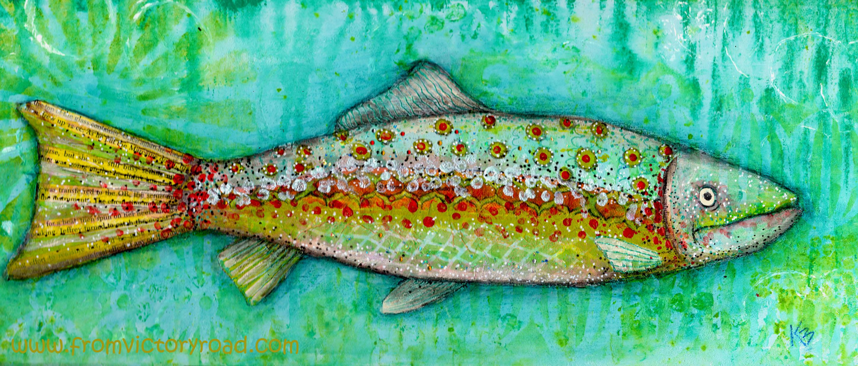 mixed media on the cheap fish watermark