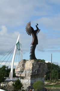 Keeper of the Plains in Wichita Kansas over the river